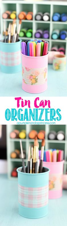 DIY Tin Can Organizers - keep supplies organized with these beautiful painted tin cans. #DecoArtProjects #Americana #MultiSurface