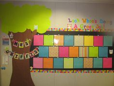 owl bulletin board for student work. Big tree where palm tree is and then recreate board banner above white board.