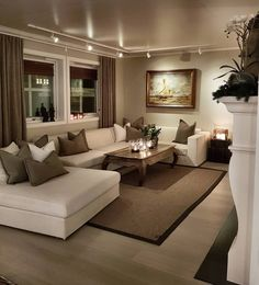 Cozy Small Living Room Decor Ideas For Your Apartment - .- Cozy Small Living Room Decor Ideas For Your Apartment – Home – Source by interiorrsde - Beige Living Rooms, Elegant Living Room, Home Living Room, Apartment Living, Interior Design Living Room, Living Room Designs, Living Room Ideas, Living Area, Track Lights Living Room
