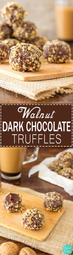 Walnut Dark Chocolate Truffles - Super easy no bake dessert recipe! Best sweet treats. Only 5 ingredients - Dark Chocolate, Caramel (Dulce de Leche), Walnuts, Butter and Dried Fruit! | happyfoodstube.com