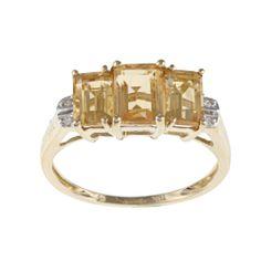 Miadora 10k Yellow Gold Emerald-cut Citrine Diamond Ring | Overstock.com Shopping - The Best Deals on Gemstone