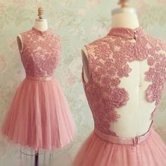 Charming Knee Length A-Line High Neck Homecoming/Party Dress With Lace
