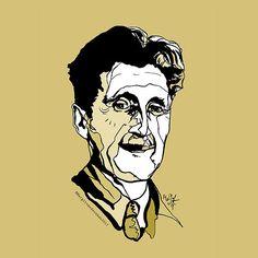 'George Orwell ' by ArtyMargit George Orwell, Canvas Prints, Art Prints, Cotton Tote Bags, Chiffon Tops, Contemporary Art, Shape, Ink, Portrait