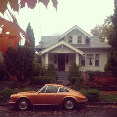 Vintage Porsche 912 in front of an adorable house. That's the life