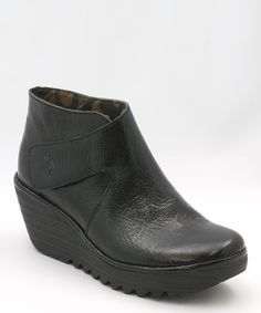 Take a look at this Black Patent Your Wedge Bootie by FLY London on #zulily today!