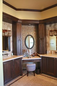 Remarkable Master Bathroom Remodeling Corner Makeup Vanity, Bathroom With Makeup Vanity, Corner Bathroom Vanity, Double Sink Vanity Top, L Shaped Bathroom, Bath Vanities, Sinks, Rustic Bathrooms, Bathroom Inspiration