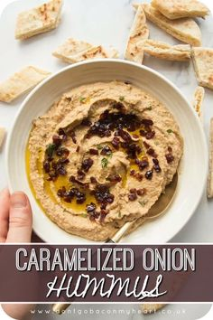 Caramelized Onion Hummus - - Caramelized Onion Hummus Food There's so many different variations of Hummus, but Caramelized Onion Hummus truly is the god among them. Better still, it couldn't be easier to make! Vegetarian Recipes, Cooking Recipes, Healthy Recipes, Recipes With Hummus, Basic Hummus Recipe, Humus Recipe, Hummus Flavors, Healthy Snacks, Vegan Cheese Recipes