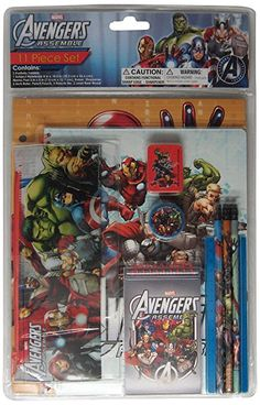 Marvel Avengers Stationery Set, 11-Piece School Supply Storage, Stationery Set, Stationary, Pencil Pouch, Storage Boxes, Marvel Avengers, Toys, Middle Earth, Top Rated