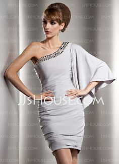 Cocktail Dresses - $139.99 - Sheath One-Shoulder Short/Mini Charmeuse Cocktail Dress With Ruffle Beading (016008908) http://jjshouse.com/Sheath-One-Shoulder-Short-Mini-Charmeuse-Cocktail-Dress-With-Ruffle-Beading-016008908-g8908