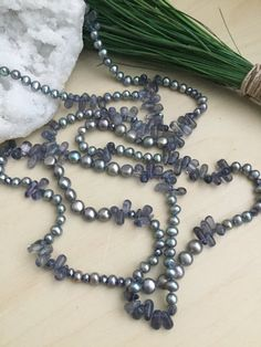 Long Pearl and Gemstone Necklace Lavender Blue Iolite &