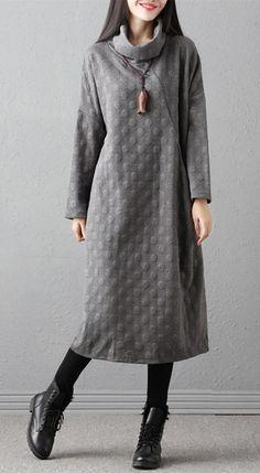 Turtleneck Polka Dots Long Sleeve Women's Casual Dress #dress