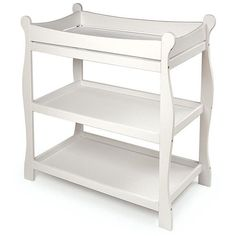 Sleigh-style changing table features two shelves and room on top for changing diapers or dressing your babyChanging table is made of quality hardwood with a non-toxic finishBaby furniture includes a changing pad and safety strap