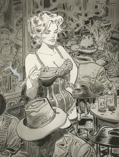 Chihuahua Pearl in the Western Comic serie Blueberry by Jean Giraud (Moebius). Jean Giraud, Western Comics, Western Art, Moebius Art, Moebius Comics, Serpieri, Drawn Art, Bd Comics, Monochrom