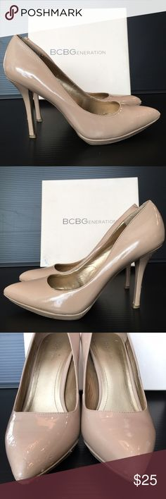 BCBGeneration Nude Patent Leather Pumps Nude Patent Leather Pumps. Heel height is 4 inches. Please note: pumps show some wear at tips of toes and on the back of the heel. Fit is true to size. No box available. Shoes Heels