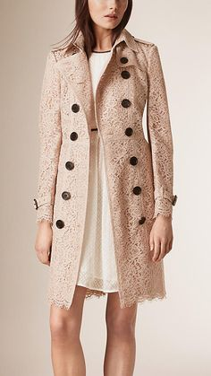 Antique taupe pink Italian Lace Trench Coat - Burberry Love this jacket SOO much!