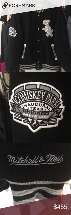 ⏳MENS MITCHELL & NESS CHICAGO WHITE SOX JACKET Came out the cleaners. It is made of wool and the pocket trim is made of genuine leather. The only thing I have to say about this jacket is that it has a little of the piling. (With a fabric shaver it will remove that) and it's not much of it. but other then that their are absolutely no other flaws no stains no tears. I would consider this a varsity jacket I believe. And very rare ! Mitchell & Ness Jackets & Coats