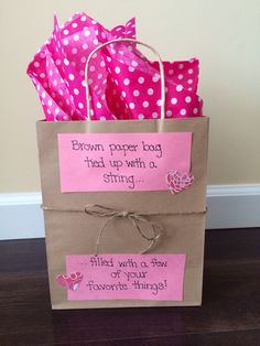 "I love this ""brown paper bag"" idea I found on Pinterest because it can be used for just about any occasion! This year I was stumped for what to get my boyfriend for valentines day so I got some of his favorite things, put them in the bag and decorated for valentines day. Quick, easy and cute!"