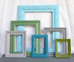 Aqua, green, grey...living room colours?