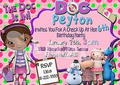 DOC-MCSTUFFINS-INVITATION-Doc-McStuffins-Birthday-Invite-Doctor-Party #docmcstuffinsparty #docmcstuffins