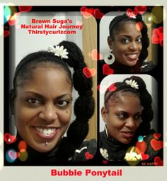"""Winks were coiled all around this cute big bubble ponytail   Working on my first """"How To""""...Youtube video for Thirstycurlz TV called inside """"Brown Suga's hair closet...I'm gonna reveal some of my top notch secrets on how I keep the spark, fun and creativity in my Natural hair game by creating any look I want...bangs...buns ... ponytails...chunky twists!...hair bows!! Three words cleanse...Condition...Create"""" www.thirstycurlz.com"""