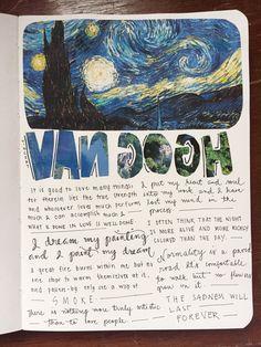 The Journal Club Kunstjournal Inspiration, Art Journal Inspiration, Art Inspo, Arte Van Gogh, Van Gogh Art, Poetry Journal, Art Journal Pages, Gcse Art Sketchbook, Bullet Art