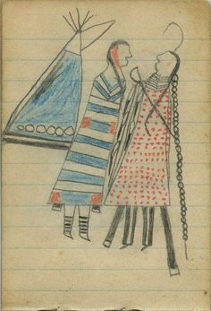 Plains Indian Ledger Art: Wild Hog Ledger-Schøyen - COURTING: Man in Red-Dotted Blanket Faces Woman in Second-Phase Chief's Blanket before a Tipi