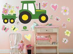 John Deere Pink Giant Wall Decals   RunGreen.com