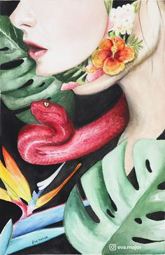 Metamorphosis - bizarre, exotic watercolor portrait