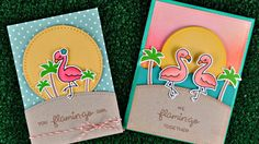 Video tutorial: Intro to Flamingo Together Lawn Fawn stamps and dies + 2 cards from start to finish. @lawnfawn