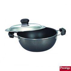Prestige Deep Kadai: Buy Prestige Omega Select Plus Non-Stick Flat Base Kadai 250 Mm With Stainless Steel Lid Online | Oyekitchen.com