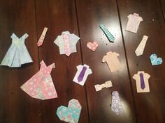 origami clothes, dresses, shirts, and ties
