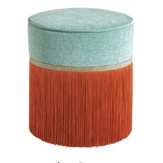 Mint and Orange Couture Geometric Bicolor Pouf Lorenza Bozzoli Design - Artemest Ottoman Stool, Lounge Areas, Antique Furniture, Upholstery, Mint, Orange, Antiques, Velvet, Cozy