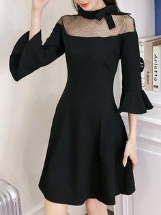 Black Band Collar See-Through Bell Sleeve Skater Dress Black Band Collar See-Through Bell Sleeve Skater Dress Dresses Uk, Cute Dresses, Beautiful Dresses, Casual Dresses, Short Dresses, Fashion Dresses, Formal Dresses, Sleeve Dresses, Evening Outfits