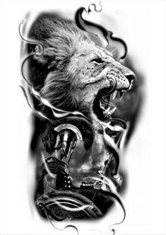 Half Sleeve Tattoos Forearm, Lion Tattoo Sleeves, Leg Tattoos, Body Art Tattoos, Tattoos For Guys, Tattoo Sketches, Tattoo Drawings, Gladiator Tattoo, Spartan Tattoo