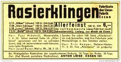 Original-Werbung/Inserat/ Anzeige 1953 - RASIERKLINGEN ANTON LIESE ESSEN  ca. 90 x 45 mm