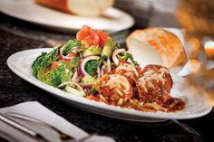 We love the famous #meatball & salad at Martorano's at Paris Las #Vegas.