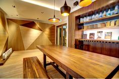 incorporating different timber tile finishes Timber Tiles, Hong Kong, Conference Room, It Is Finished, Table, Furniture, Design, Home Decor, Decoration Home