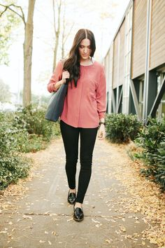 Everlane // Loafers, Silk Top, Tote // http://www.bethanymarie.co/blog/2014/10/10/everlane-loafers