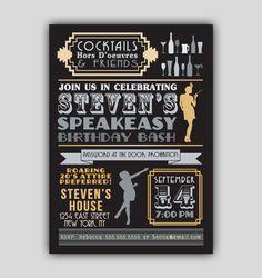 Speakeasy Prohibition 1920s Art Deco Invitation by 8Hollydays, $15.00