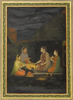 Two women and a small child visiting a yogi and yogini at night, Provincial Mughal, India, late 18th century. Best view at: http://www.sothebys.com/content/dam/stb/lots/L09/L09721/L09721-39-lr-1.jpg
