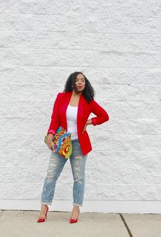 Style & Poise: Red blazer, red pumps, distressed boyfriend jeans, and Ankara purse