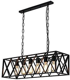 EFINEHOME Efine Vintage Industrial 6 Lights Edison Retro Rustic Wrought Iron Black Chandelier Rectangle Island Light Fixtures Max 360w NO Glass - - Amazon.com