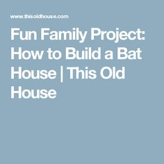 Fun family projects this old house