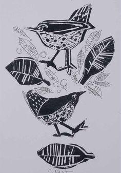 'more tweets' - lino print + pen & ink -  claire west