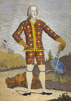 Prince Charles Edward Stuart, c.1750, James Francis Edward Stuart; the thistles in this 'Harlequin' portrait of Bonnie Prince Charlie are Scottish symbols of strength and resistance. (National Galleries of Scotland)