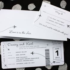 Airplane Boarding Pass Wedding Invitations