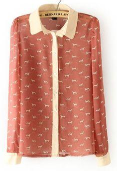 ++ Pink Long Sleeve Dogs Print Chiffon Blouse