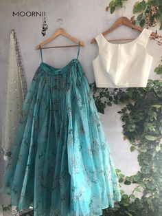Indian Gowns Dresses, Indian Fashion Dresses, Dress Indian Style, Indian Designer Outfits, Fashion Outfits, Half Saree Designs, Lehenga Designs, Indian Lehenga, Lehenga White