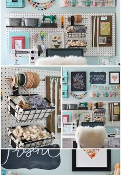 Organize craft supplies using a peg board, baskets, hooks and DIY shelves.