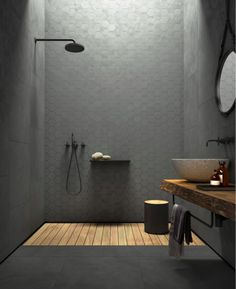 Concrete-look tiles from the Arnold Lammering tile studio. Arnold Lammering GmbH - Concrete-look tiles from the Arnold Lammering tile studio. Arnold Lammering GmbH Concrete-look tiles from the Arnold Lammering tile studio. Dream Bathrooms, Beautiful Bathrooms, Small Bathroom, Houzz Bathroom, Bathroom Black, Bathroom Wall Lights, Modern Bathrooms, Master Bathrooms, Bad Inspiration